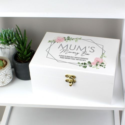 Personalised Rose Abstract Wooden Keepsake Box